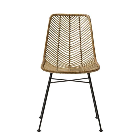 Chair, Natural Rattan w/Black Legs
