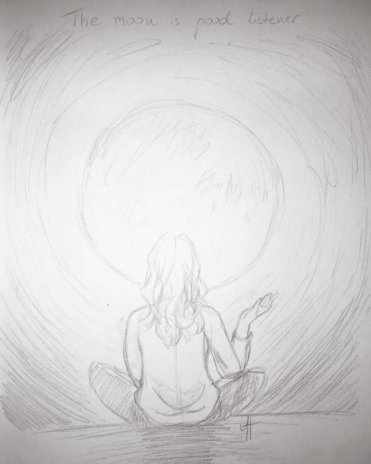 """The Moon is a good listener"" #wip #sketch #sketchbook #pencil #drawing #moon #quote"