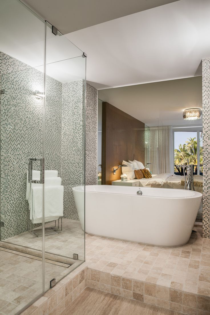 Project by 2id interiors - South Beach Contemporary Elegant Cozy Beach Master bathroom. Custom made vanity and cabinets.