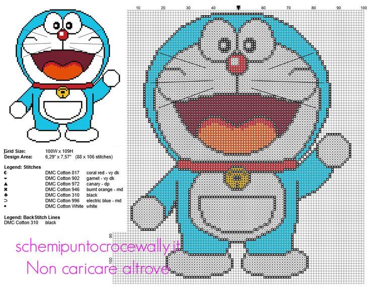 Doraemon schema punto croce cartoni animati 88 x106 crocette 7 colori DMC