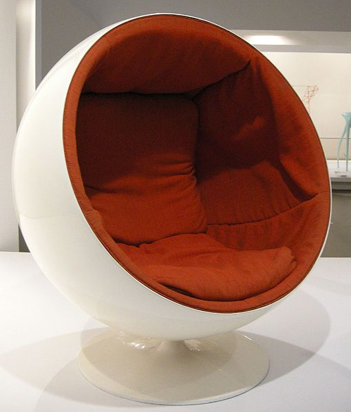 Ball chair. Design: Eero Aarnio (1963). Sit within and you'll be in a world of your own, even at a busy airport.
