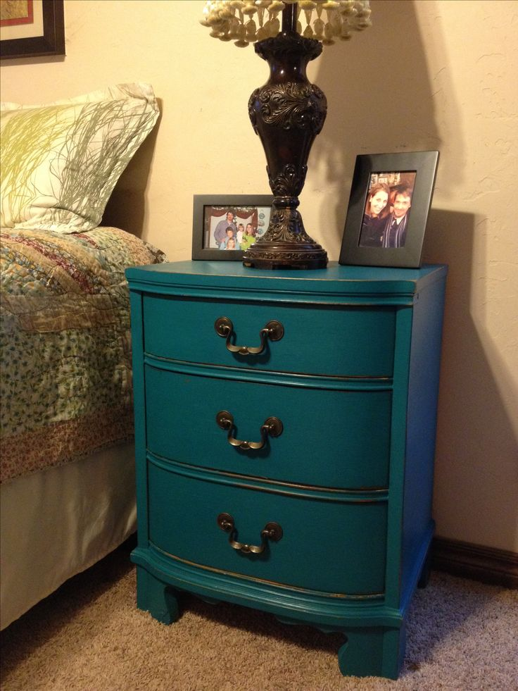 Night stand done in American Paint Company, Peacock, from the Ellis Collection. #americanpaintcompany #apc