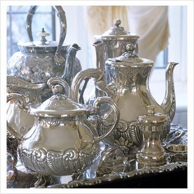 ZsaZsa Bellagio: Silver Sweet: Silver Tea Service Complete with Tray.