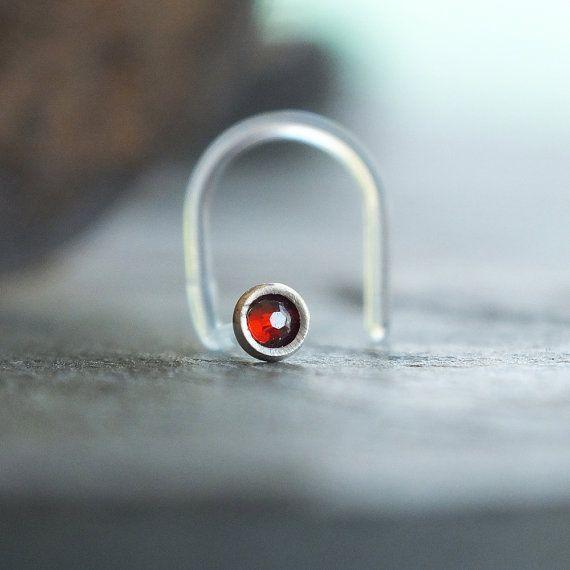 20 gauge Dark Red Nose Stud, 2mm Nose Piercing Jewelry, Flexible Push Fit Nose Piercing Stud