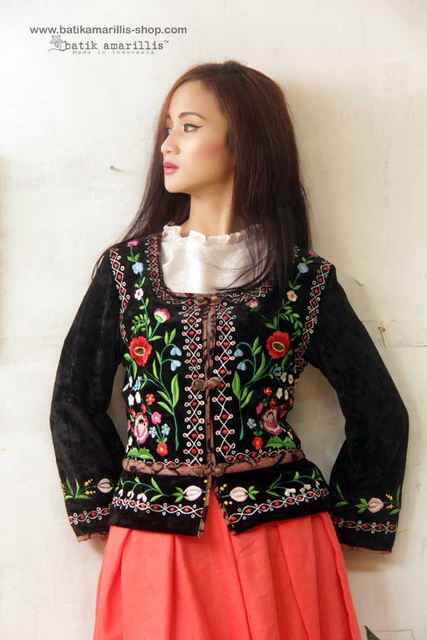 Batik Amarillis Made in Indonesia proudly presents: <3 Batik Amarillis' folklore #3 <3 <3 Batik Amarillis' Kasia Jacket <3 ...inspired by Fabulous vintage traditional Polish waistcoat with rich,meticulous,colorful and intricate vintage embroidery style from Poland combined with Indonesia's traditional textiles such as Batik and ikat. available at Batik Amarillis website www.batikamarillis-shop.com