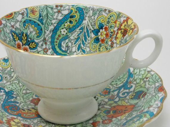 Radfords Blue Green Orange Paisley Chintz Tea by TheVintageFind1