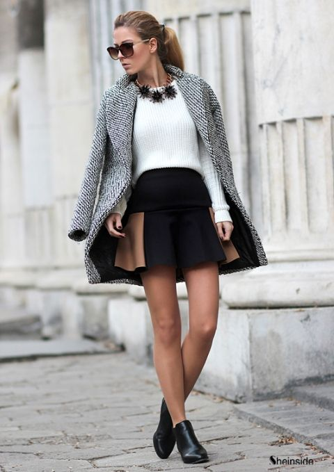 Wear a grey coat and a black skater skirt to create a chic, glamorous look. Dress up this look with black leather ankle boots.  Shop this look for $111:  http://lookastic.com/women/looks/skater-skirt-ankle-boots-cable-sweater-necklace-sunglasses-coat/2291  — Black Skater Skirt  — Black Leather Ankle Boots  — White Cable Sweater  — Black Necklace  — Brown Sunglasses  — Grey Coat