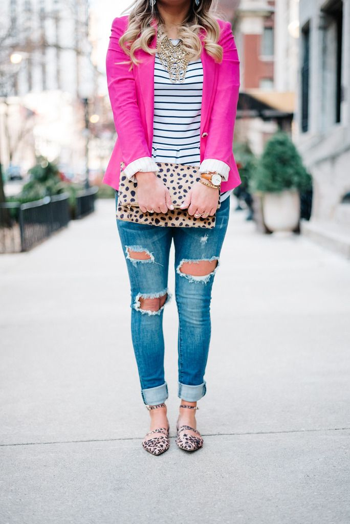 Jeans, Hot Pink Blazer, Striped shirt, leopard clutch. Perfect Casual Friday.