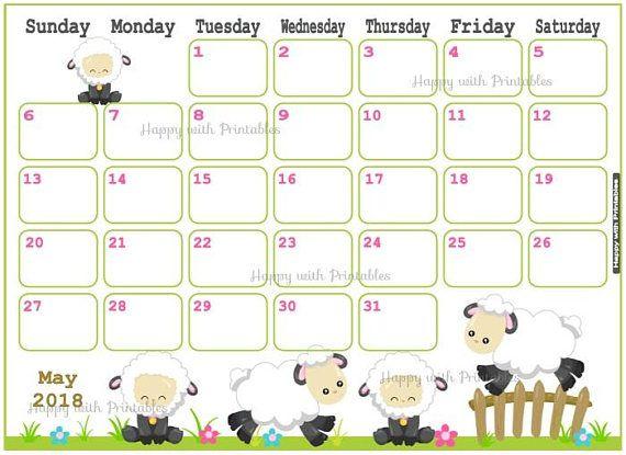 Calendar May 2018  Spring Planner Printable  Cute sheep