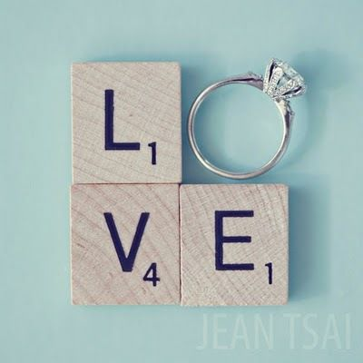 .: Wedding Ring, Photos Ideas, Engagement Photos, Cute Ideas, Scrabble Tile, Engagement Picture, Engagement Announcement, Engagement Ring, Scrabble Letters