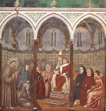 Giotto, Predica davanti ad Onorio III, storie di San Francesco, Basilica di Assisi
