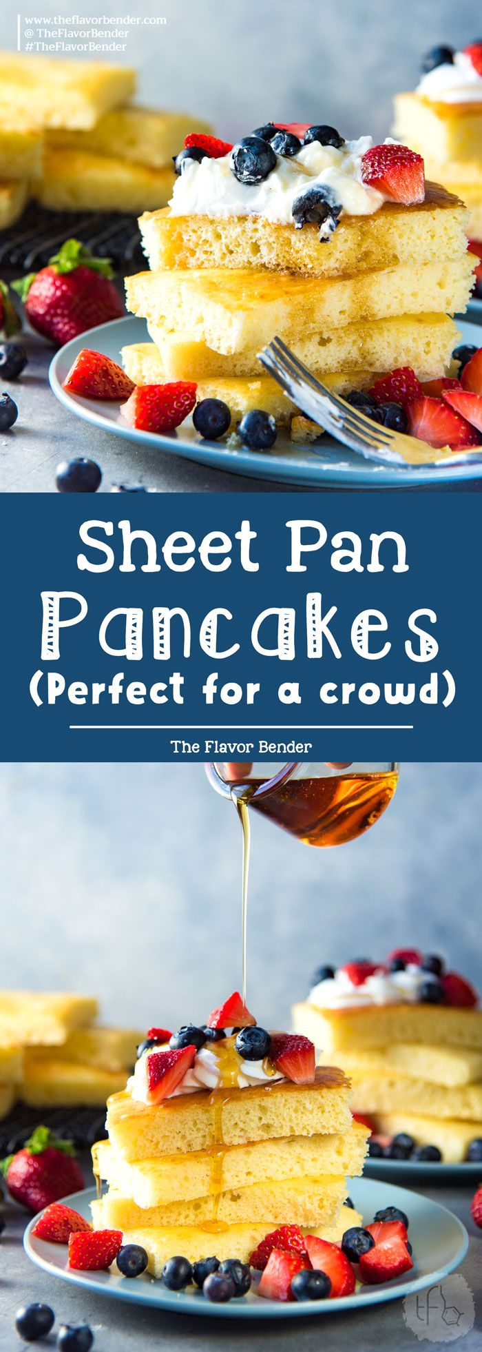 Sheet pan pancakes - Soft light and fluffy oven baked pancakes for breakfast or brunch. Perfect for a crowd, and easy to make. via @theflavorbender