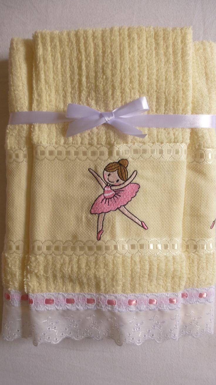 toalha de banho e rosto com bordado de bailarina atelie mãe e filha