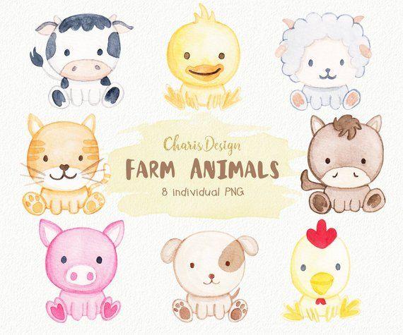 Farm Animal Illustration Watercolor Baby Dog Cat Sheep Horse Etsy Baby Farm Animals Animal Illustration Baby Animal Drawings