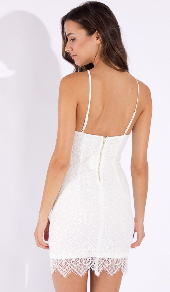 Pure Thoughts Bodycon Dress in White