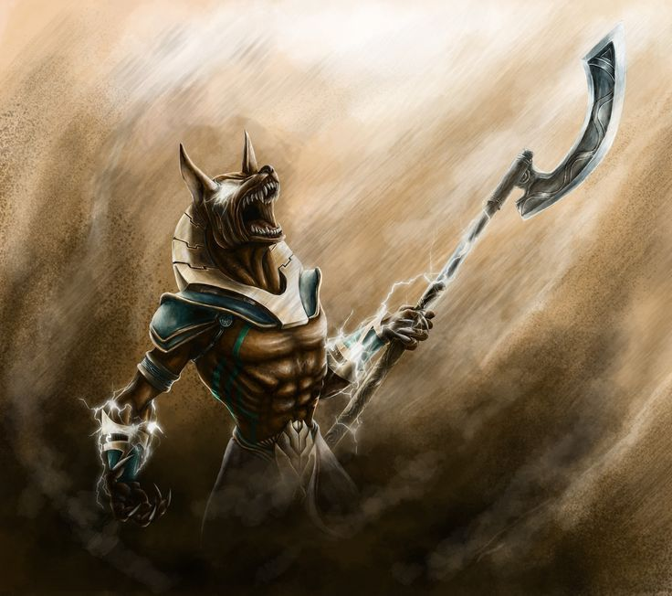 Egyptian Anubis casting an area wind/sand spell