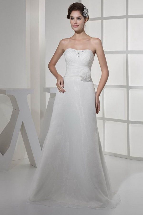 A-Line Scoop Organza Bridal Gowns - Order Link: http://www.thebridalgowns.com/a-line-scoop-organza-bridal-gowns-tbg1048 - SILHOUETTE: A-Line; SLEEVE: Sleeveless; LENGTH: Floor Length; FABRIC: Organza; EMBELLISHMENTS: Beading,Ruffles,Flower - Price: 153USD