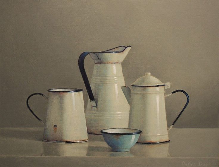 Vintage French Enamelware with Blue Bowl