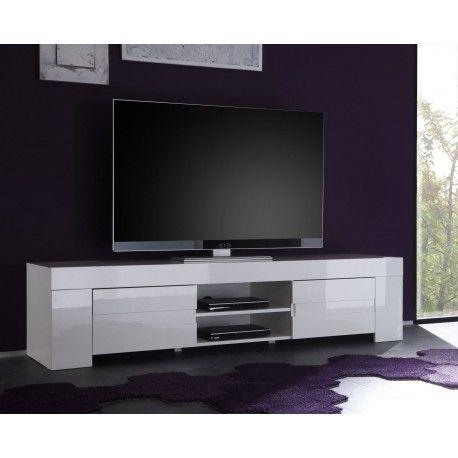 n'hésitez plus pour ce meuble TV laqué blanc
