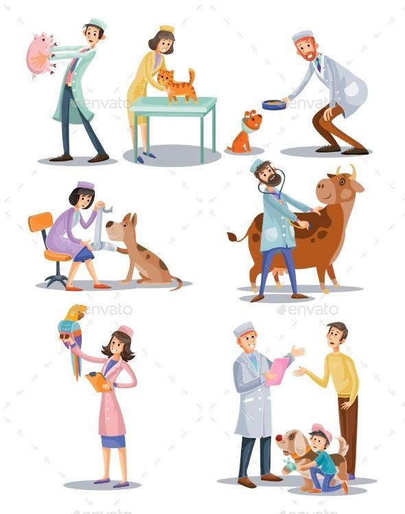 Vector Set Of Professional Vet Doctors Pet Clinic Vets Vet Clinics