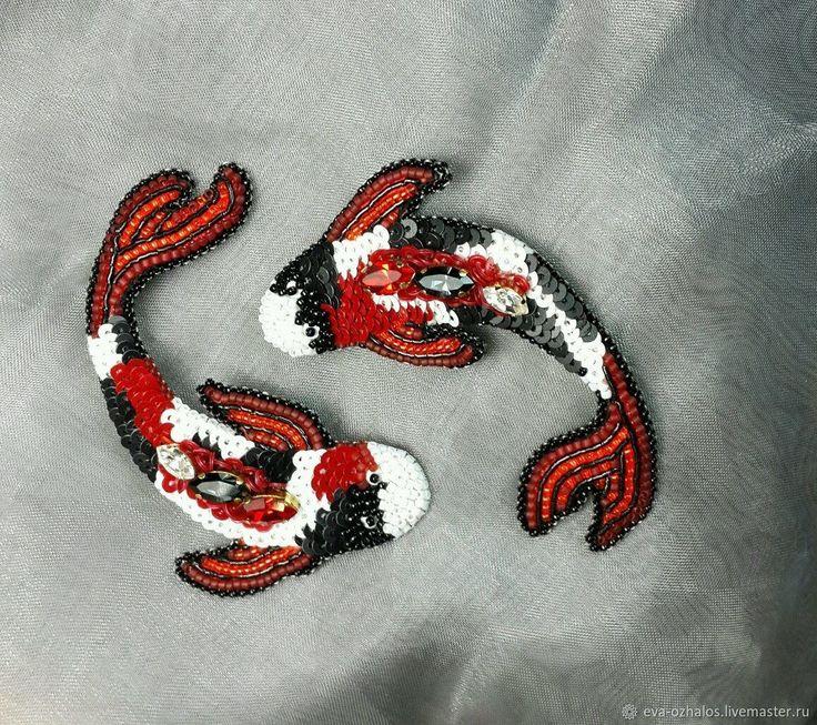 """Купить Брошь """"Карп Кои"""" - рыба, красный, брошь, белый, подарок, черный, рыбка"""
