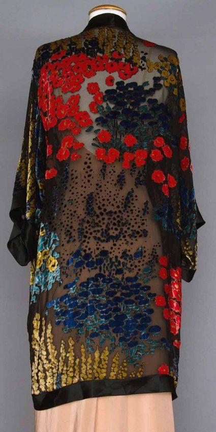 * CUT VELVET EVENING COAT, 1920s Blue, coral & yellow flowers cut to black chiffon, scattered sequins, 3/4 length kimono sleeves, black silk satin edge