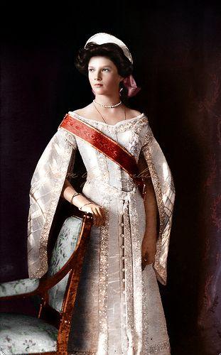 "Tatiana Nikolaevna Romonava of Russia. in court dress, 1911.  2nd child of Tsar Nicholas II (Nikolai Alexandrovich Romanov) (1868-1918) & Alexandra ""Alix"" (1872-1918)."