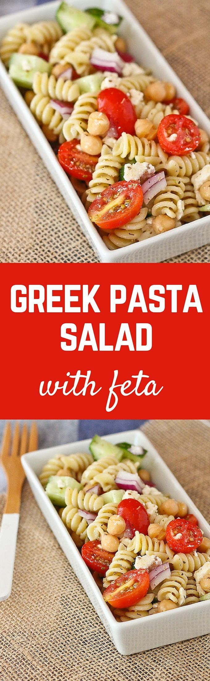 Greek Pasta Salad with Feta - this is a easy, filling, and delicious pasta salad that is perfect for picnics and bbqs. Get the easy recipe on http://RachelCooks.com!