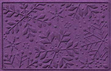 Aqua Shield 2'x3' Holiday Snowflake Doormat, Purple transitional-doormats
