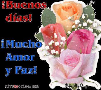 Ver Imagen de unas lindas rosas de hermosos colores con brillo y movimiento junto a las frase: ¡Buenos Días! ¡Mucho Amor y Paz!
