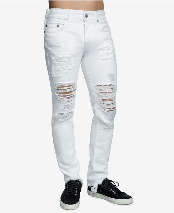 bd13c84d True Religion Men's Rocco Ripped Skinny Fit Stretch Jeans - White 34
