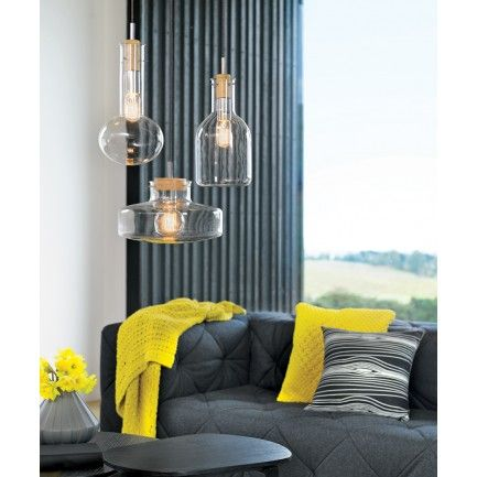 Lab 1 Light Pendant with 180mm Rounded Beaker Shaped Glass Shade