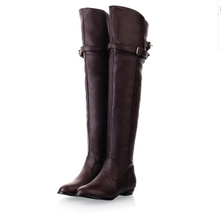 new 2014 over the knee high boots women motorcycle boots high leg riding boots low heel leather shoes big plus size 34-43  <3 <3 <3