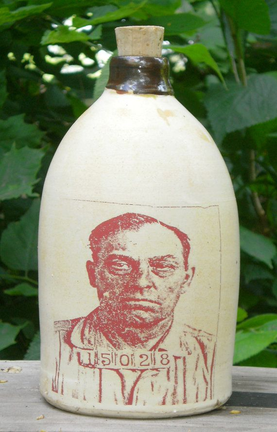 moonshiner mugshot jug ceramic handmade