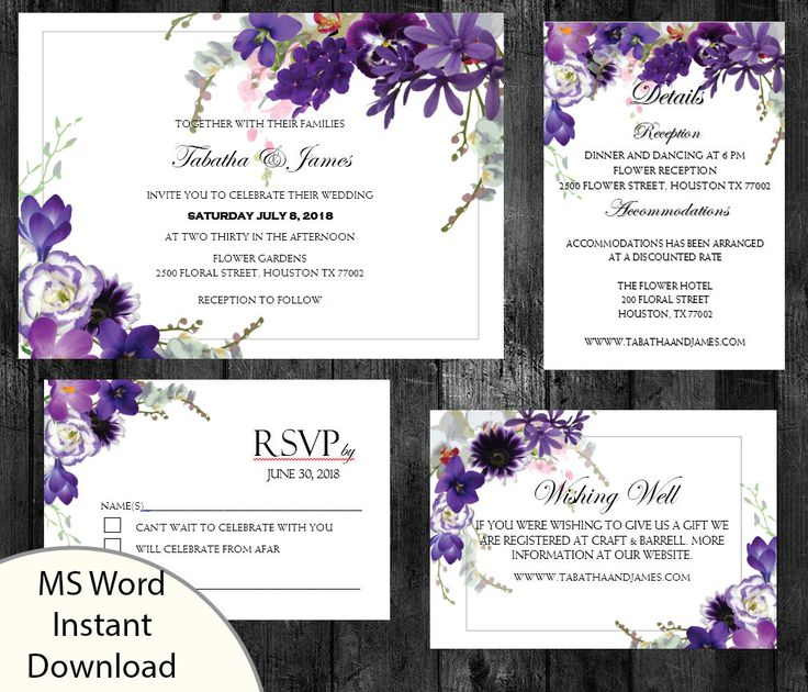 Printable Wedding Invitation Set, Invitation, RSVP, Wishing Well, Details template, Editable Microsoft Word, Instant Download Violet Floral by PrettyDigiDesigns on Etsy