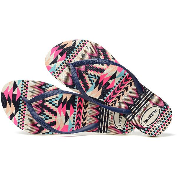 Flip-flops Havaianas Slim Tribal White/navy Blue (265 HRK) ❤ liked on Polyvore featuring shoes, sandals, flip flops, tribal sandals, white shoes, navy blue sandals, tribal print sandals and slim flip flops