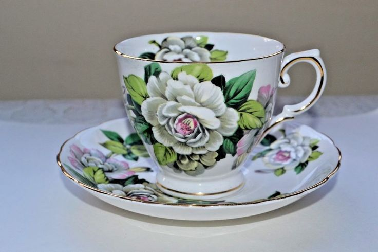 Tuscan Fine English Bone China Hawaiian Flowers Gardenia Tea Cup Saucer England #Tuscan