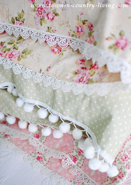 Handmade lace trimmed vintage style pillow cases