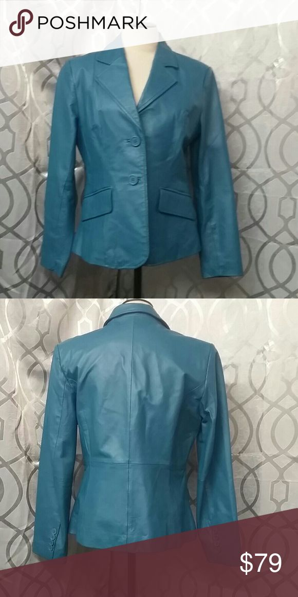 100% leather metro-style coat eight petite Stunning blue/ turquoise leather coat by metro-style size 8 petite material shell 100% genuine leather lining 100% polyester professional leather cleaner only two buttons and two pockets in the front measurements of length armpit to armpit 19 inches length 23 inches  sleeve length 23-inches Metro style Jackets & Coats