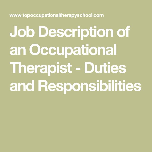 Job Description Of An Occupational Therapist  Duties And