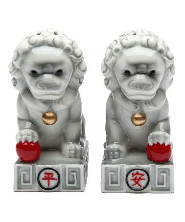 Look at this #zulilyfind! Chinese Stone Lion Salt & Pepper Shakers by Cosmos #zulilyfinds