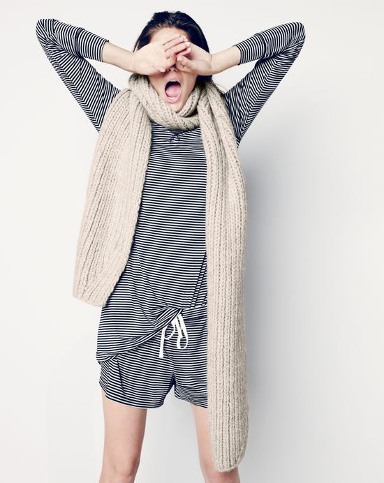 J.Crew women's whisper jersey pajamas in stripe and long ribbed scarf. Love these pj's!!
