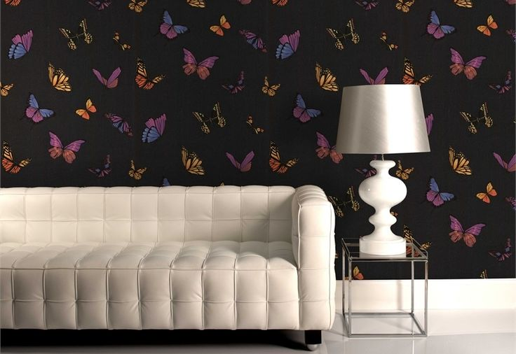 Graham & Brown  52cm x 10m Flutterby Black Wallpaper #shimmeringblack #holographic #sunshineindoors