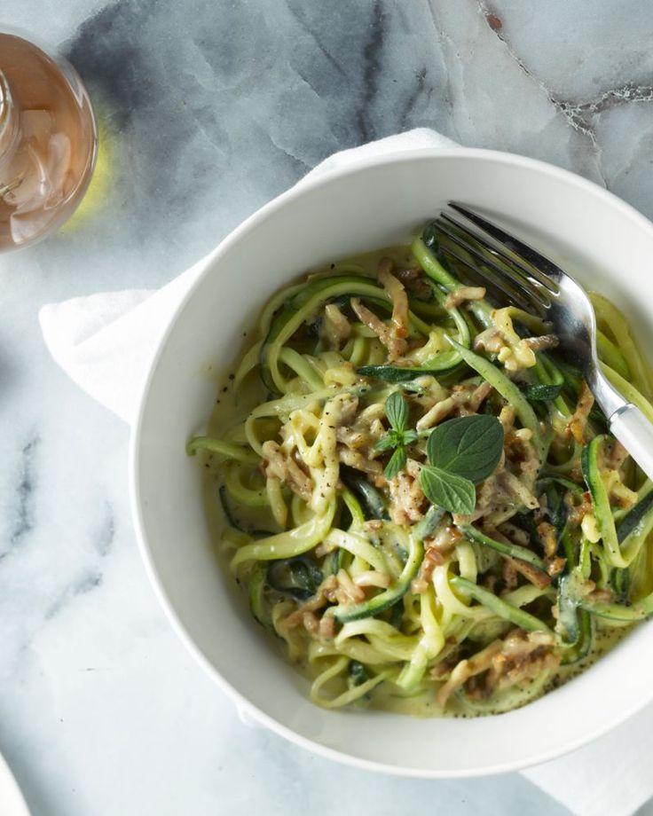 Pasta carbonara met courgettenoedels