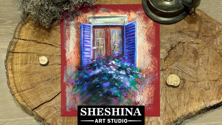 How to draw a flower box on a window with soft pastels  Sheshina Ekaterina