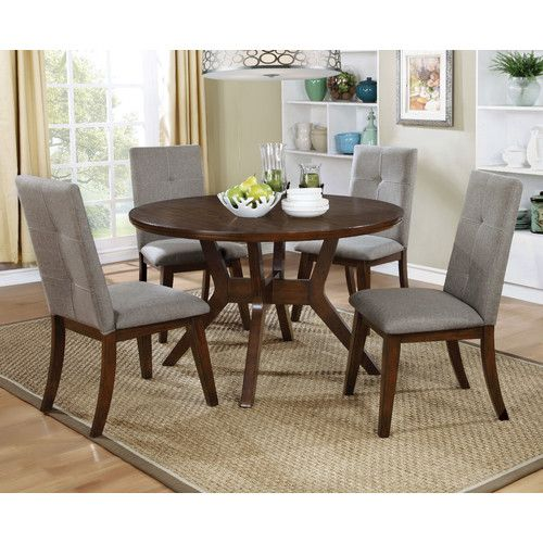 5 PC Furniture Of America Abelone Collection Round Dining Room Table Set