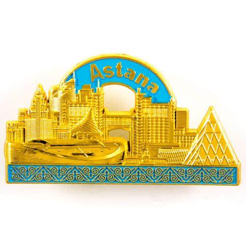 Metal Fridge Magnet: Kazakhstan. Astana View (Golden Color)