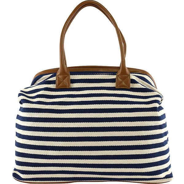 Tara's Travelers Nautical Stripes Tote - Sapphire Stripes - Totes ($37) ❤ liked on Polyvore featuring bags, handbags, tote bags, blue, white tote, white tote bag, pocket tote, travel tote and woven tote