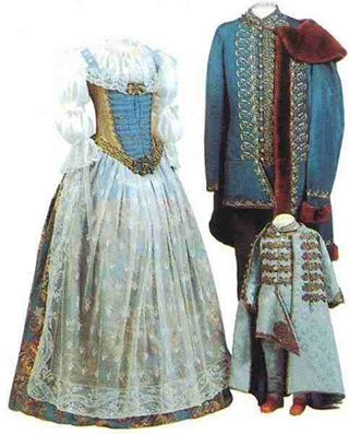 Traditional hungarian woman, man and child wear (nobility)