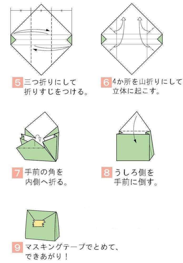 折り紙1枚で簡単に作れちゃう、ちっちゃめサイズのギフトパック。 キャンディのおすそわけや、お金を返すときなどに使ってみて。 マスキングテープやシールを使って閉じてね!
